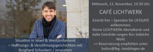 Hoffnungsgeschichten aus dem Westjordanland und Israel im Café Lichtwerk @ Café LICHTWERK im Gemeindezentrum FeG Böblingen | Böblingen | Baden-Württemberg | Deutschland