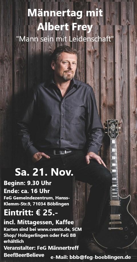 Männertag mit Albert Frey - fällt aus, muss wegen Corona-Pandemie auf 2021 verschoben werden @ FEG Böblingen Kirche auf der Hulb | Böblingen | Baden-Württemberg | Deutschland